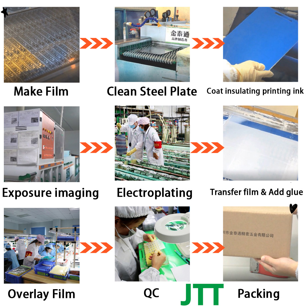JTT productive process - Metal logo nickel sticker production process